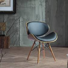 Retro Accent Chair Retro Accent Chair Curved Walnut Finish Black Bonded Leather Side