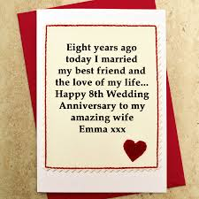 9th anniversary gift ideas personalised 8th wedding anniversary card by arnott cards