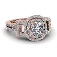cushion cut diamond engagement rings 14k rose gold cushion cut white diamond halo engagement rings