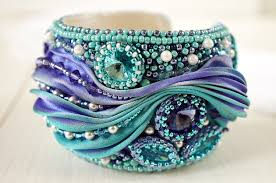shibori ribbon bracelet magic bracelet with shibori ribbon bead embroidered