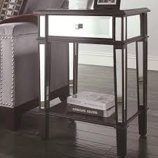enchanting mirrored accent table with faceted mirror side table
