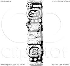 clipart black and white mexican totem pole royalty free vector