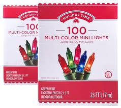 time 100 multi color mini lights green wire