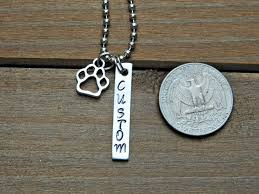 Custom Bar Necklace Customized Bar Necklace Stamped Text Paw Print Charm Dog Cat Animal Lo