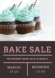 brown white and pink cupcake grid bake sale flyer templates by canva