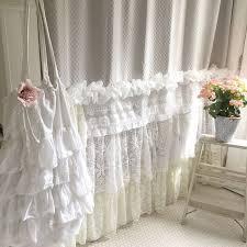 Home Decor Shabby Chic Style Bohemian Lace Ruffle Shower Curtain Shabby Chic Style Bathroom