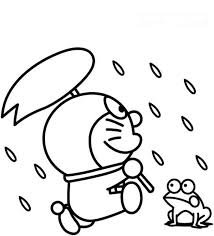doraemon playing in the rain with frog coloring pages netart