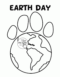paw earth earth day coloring page for kids coloring pages