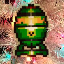 fallout 4 mini nuke 8 bit pixel christmas ornament by