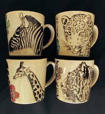 blue harbor coffee mugs tiger giraffe zebra leopard animal print 4