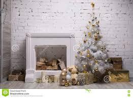 silver white christmas tree christmas lights decoration