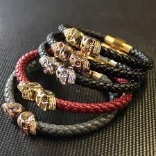 bracelet men skull images Beichong brand leather bracelet mens skull stainless steel jpg