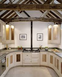 u shaped kitchens designs eposed beam ceiling u shape kitchen design with classic stove and
