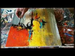 acrylic abstract painting demonstration palette knife blending