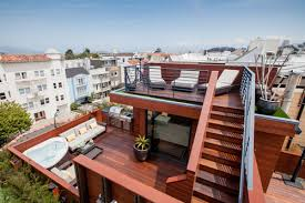 awesome two storey wooden roof deck design ideas with corner