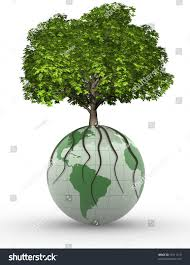 tree on earth globe 3d render stock illustration 79711219