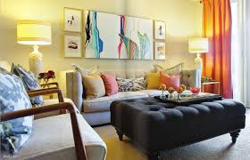 charming beautiful color art work features orange curtains and