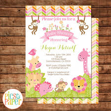 pink safari jungle baby shower invitation