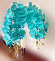 Fake Orchids Fake Teal Flowers Artificial Craft Bouquet Home Wedding Fake