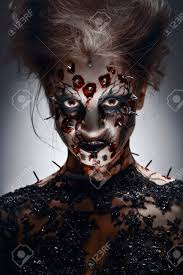 creepy halloween pictures a creepy halloween makeup of a witch with a bloody peircing and
