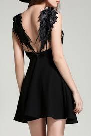 design hollow wing back embellish a line mini dress
