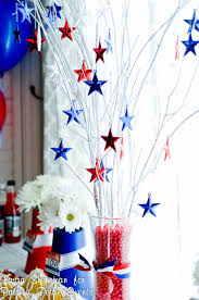 Fourth Of July Table Decoration Ideas Patriotic Centerpiece Glass Vase Filled With Some Twigs Painted