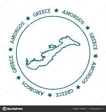 Circle Map Amorgos Vector Map Distressed Travel Stamp With Text Wrapped