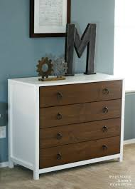 ana white modern white dresser with wood drawers diy projects