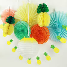 Paper Pineapple Decorations Pack Of 9 Summer Party Decoration Set Lantern Paper Fans