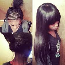 sew in weaves with bangs sew in with bangs you can pull it up or wear it down this is an