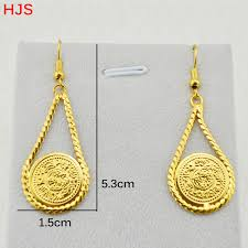 real gold earrings online shop arab coins accessories women party gift 18k real gold