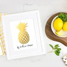 Pineapple Home Decor by Faux Foil Pineapple Welcome Printable Wall Art Print Printable