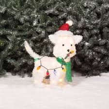 lighted dog christmas lawn ornament holiday time christmas decor 24 fluffy dog light sculpture