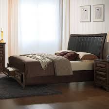 King Storage Platform Bed Roundhill Furniture B179k Broval 179 Light Espresso
