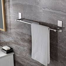 Wall Shelf Bathroom Amazon Com Towel Bar Self Adhesive 27 55 Inch Bathroom Brushed