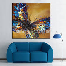 handmade abstract adorable blue butterfly art oil painting on