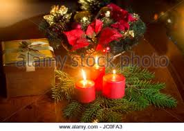 Christmas Table Decoration Next by Christmas Tree Next To Burning Fireplace Vintage Style Interior