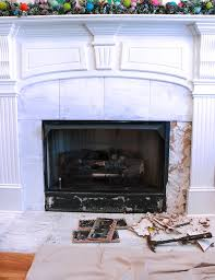 How To Reface A Fireplace by How To Remove Fireplace Tiles Chaotically Creative
