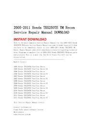 2005 2011 honda trx250 te tm recon service repair manual download