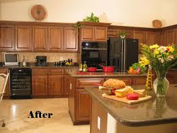 spacious kitchen interior design with solid hickory wood cabinets