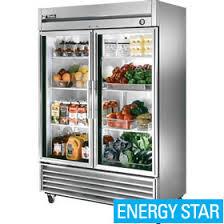 true t 49g refrigerator reach in two glass doors bottom