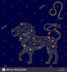 Zodiac Sign Zodiac Sign Leo On A Background Of The Starry Sky With The Scheme
