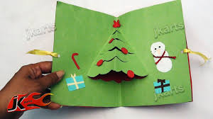 diy easy christmas tree pop up greeting card how to make