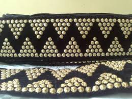 velevt black golden embroidery lace indian wide fabric trim sequin sold by vibgyorcolors