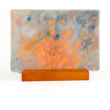 abstract glass painting w lighted stand modern home decor
