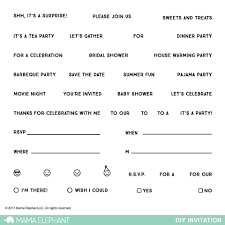 Dinner Party Agenda - little agenda mama elephant