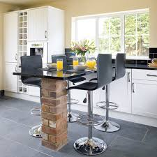 Kitchens  Contemporary Kitchen With High Black Modern Bar Stools - Kitchen breakfast bar tables