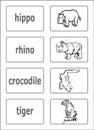 wild animals vocabulary for kids learning english printable