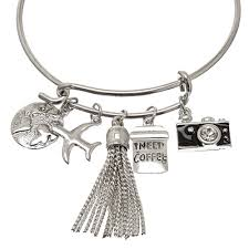 halloween charm bracelets silver tone travel charm bangle bracelet claire u0027s us