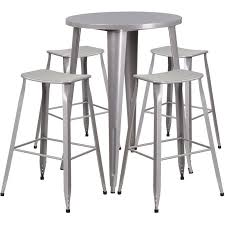 silver metal bar table ihome brimmes round 30 silver metal indoor outdoor table set w 4